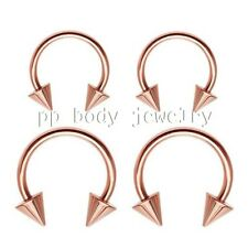 """2pc Rose Gold IP Spiked Horseshoe Circular Barbell Ears Labret 16g 5/16"""", 3/8"""""""
