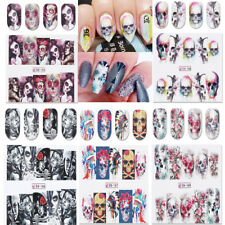5PCS NAIL ART WATER STICKERS TRANSFERS DECALS WRAPS FLOWER SKULL HALLOWEEN DIY