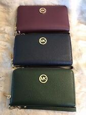 NWT MICHAEL KORS LEATHER FULTON MF PHONE CASE WRISTLET WALLET 3 COLOR CHOICES