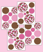Polka Dot Camo Decals Girl Wall Art Pink Brown Camouflage Stickers Room Decor