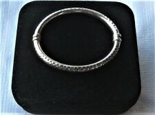 925 Sterling Silver Bangle Clamper Bacelet spring action orig. box & pouch-EXC!
