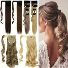 "Natural Ponytail Clip in 17""-26"" Long Wrap Around Hair Extensions Blonde Black C"