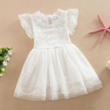Summer Kids Girls Pageant Party Short Tulle Dresses Lace Crochet Princess Dress