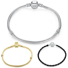 Silver Plated European Charms Beads Bracelet Snake Chain Clasp Gold Black DIY