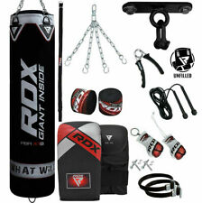 RDX Punching Bag Boxing MMA Kick Punch Bags Black Training Sport Chain Wraps
