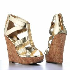 Rock and Republic Womens Gold Strappy Platform High Heel Wedges Sandals