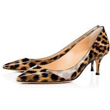 Womens Kitten Heels 5.5CM Slip On Leopard Printing Pointed Toe Shoes Dress Pumps