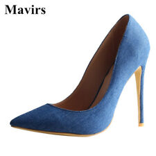 Womens Denim Pointed Toe High Heels Pumps Footwear Stiletto Party Dress Shoes