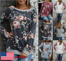 Womens Floral Long Sleeve Crew Neck Loose Cotton Shirt Party Cocktail Blouse Top