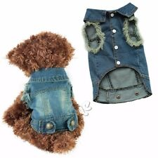 Warm Winter Casual Jeans Pet Dog Clothes Jumpsuit Hoodie Coat Jacket Clothing