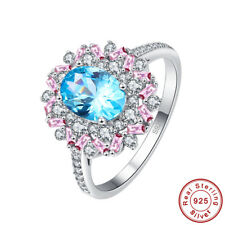 Wedding Swiss Blue & Pink & White Topaz S925 Sterling Silver Ring Size 6 7 8 9
