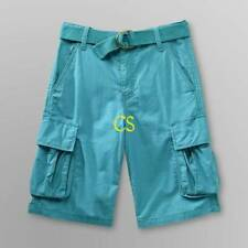 NWT-Boys Route 66 Adjustable Waist Teal Blue Cargo Belted Twill Shorts-sz 5 & 10