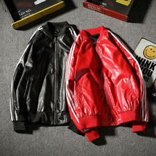 Fashion Men New Stand Collar Stripe PU Leather Slim Fit Casual Coat Jacket