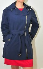 Calvin Klein Military Asymmetrical belted trench coat stylish Navy jacket OBO