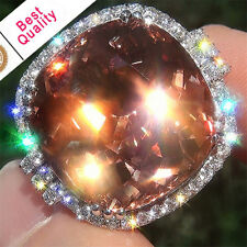 Huge 6.3CT Padparadscha Women 925 Silver Jewelry Wedding Engagement Ring Sz 6-10
