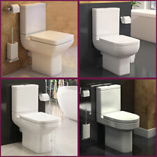 Modern Bathroom Cloakroom White Ceramic Close Coupled Toilet WC Pan Cistern Seat