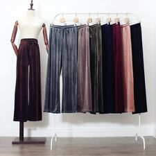 Womens Glossy Velvet Trousers High Waisted Wide Leg Flared Pants Loose Vintage