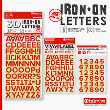 RED Iron On Letters Numbers Heat Transfer Alphabet Label -Half Inch -Inkviva