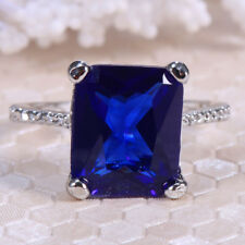 925 Silver 3.1ct Blue Sapphire Women Jewelry Wedding Engagement Ring Size 6-10