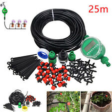 25m Manual/Automatic Timer Drip Irrigation Plant Watering Flowers Lawn Hoses Kit