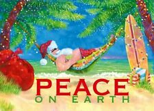 Beach Hammock Santa Boxed Christmas Cards 18 ct. Peace on Earth Coastal Holiday