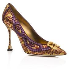 $1235 New Manolo Blahnik TRADI Gold brocade Purple Jeweled Shoes Pumps 40 41
