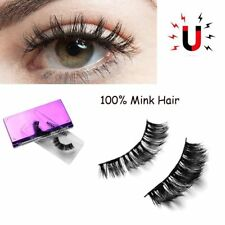 1Pair SKONHED Luxurious Magnetic False Eyelashes 3D Mink Hair Thick Lashes 2017