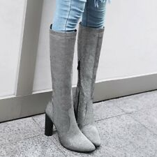 Womens Side Zippers Pointy Toe High Chunky Heels Winter Knee High Boots Shoes sz