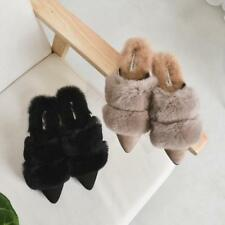 Fashion Womens Fuzzy Rabbit Fur Slip On Pointed Toe Slides Flats Mules Shoes New