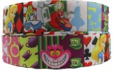 "Alice in The Wonderland 1"" Wide Repeat Ribbon Sold in Yard Lots - USA Seller"