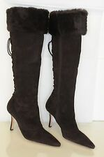$1895 New MANOLO BLAHNIK DOBRAHI Chocolate Brown Fur Suede BB Boots SHOES 39.5