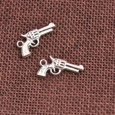 Wholesale 10Pcs Tibetan Silver Pistol Charms Pendants Jewelry 27x15MM Z154