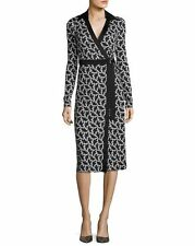 NWT Diane von Furstenberg D-Ring Belted Silk Wrap Dress Vermier Black $498