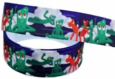 "Gumby and Pokey 1"" Wide Repeat Ribbon Sold in Yard Lots - USA Seller"