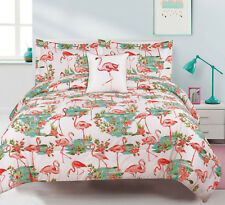Flamingo Full/Queen or King Comforter 4 Piece Bedding Set Pink Tropical Floral