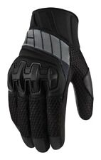 Icon Overlord Adult Leather/Mesh Motorcycle Gloves, Stealth-Black