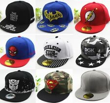 Children Cartoon Superman Batman Spiderman Flat Snapback Hat Kids Baseball Cap
