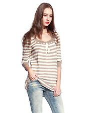 Womens Knitted Stripes 3/4 Sleeves Pullover Sweater Loose Knitwear Cardigan S-XL