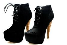 Ladies brogue style lace up killer heel ankle boots