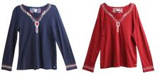 NWOT Lucky Brand Womens Long Sleeve Night Sleep Shirt Pajama Top Red Blue