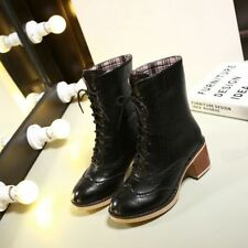 Lady Synthetic Leather Lace Ups Med Cuban Heels Solid Casual Boots Shoes Nice!!