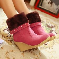 Womens Suede Zipper Platform High Wedge Heels Winter Snow Mid-Calf Boots Shoes