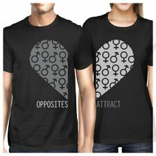 Opposites Attract Male Female Symbols Matching Couple Black Shirts