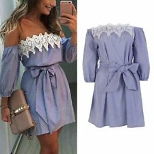WJ 2017 Summer Boho Women Sexy Lace Off Shoulder Bowknot Dress Bodycon Party Eve