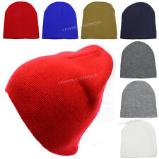 Plain Color Short Beanie Skull Cap Winter Solid Knit Ski Cap Cuff Blank Hat New