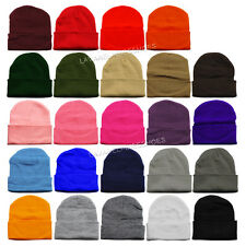 MEN WOMEN Unisex Plain Color Beanie Skull  Winter Solid Knit Ski Cap Cuff  Hat