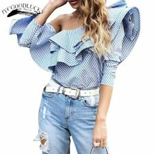 Stripe Blouse Ruffle Top Off Shoulder Women's Shirt Blusas Long Sleeve Fashion S