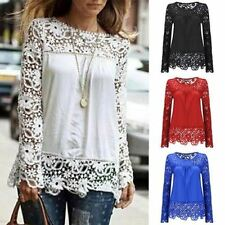 Women Fashion Lace Long Sleeve shirt Sexy See-through Crochet Blouse Top