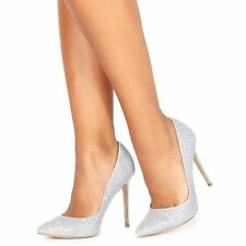 Faith Womens Silver Glitter 'Chloe Party' High Stiletto Heel Pointed Shoes