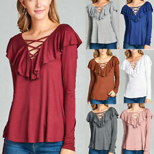 Womens Ruffle Frill Long Sleeve Pullover Ladies Casual Loose Blouse T Shirt Tops